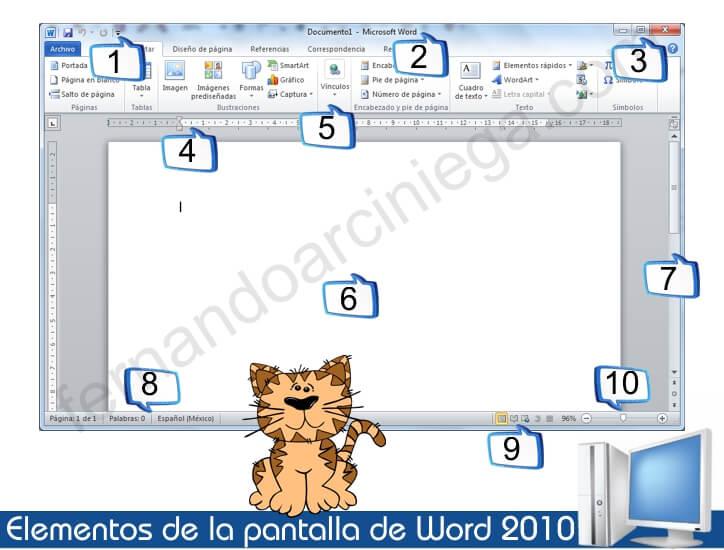 Elementos de la pantalla de Word 2010